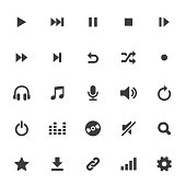 An illustration of multimedia and audio icons set for your web page, presentation, apps and design products. Vector format can be fully scalable & editable.