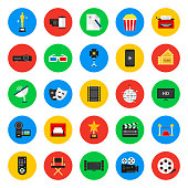 Multimedia and cinema, collection icons
