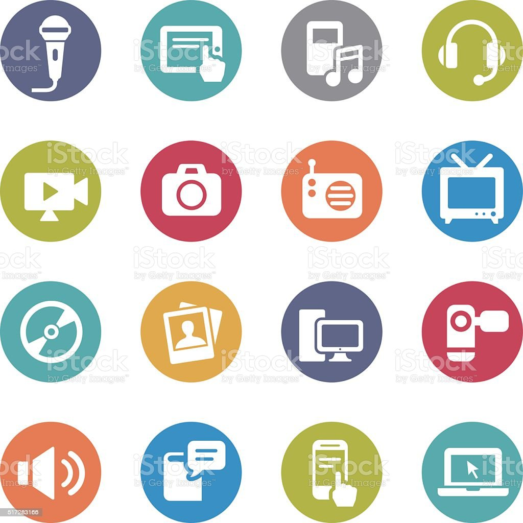 Multimedia and Equipment Icons - Circle Series vector art illustration