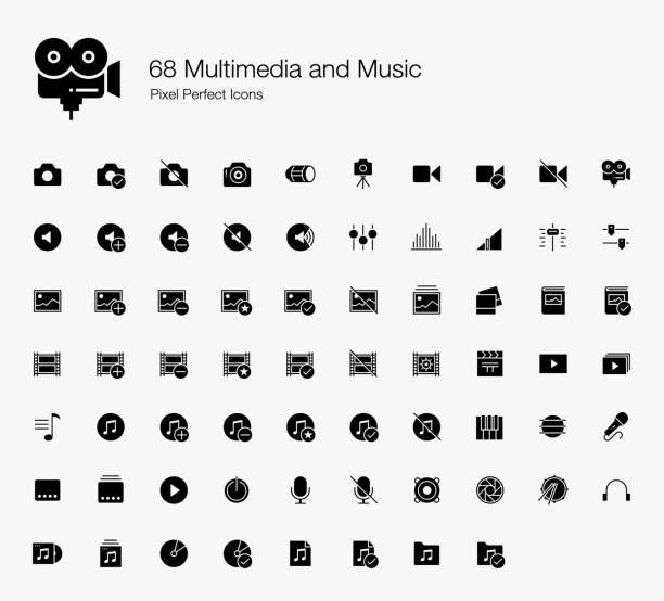 stockillustraties, clipart, cartoons en iconen met 68 multimedia en muziek pixel perfecte iconen - hdri landscape