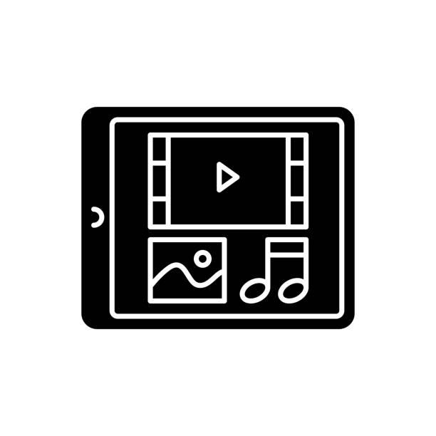 multimedia schwarzes glyphensymbol - tablet mit displayinhalt stock-grafiken, -clipart, -cartoons und -symbole
