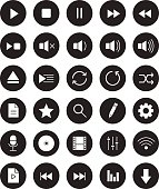 Multimedia black linear icons set