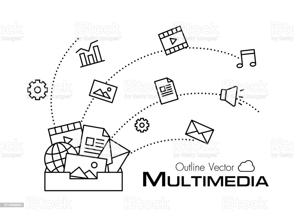 Multimedia box . outline style . vector art illustration