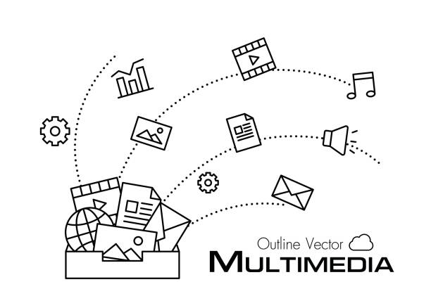 Multimedia box . outline style . Multimedia box . outline style . multimedia stock illustrations