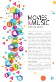 Multimedia design with copy space design for movies and music.