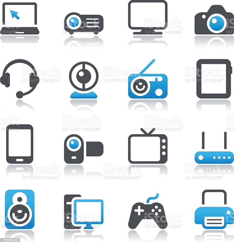 Multimedia Device Icons vector art illustration