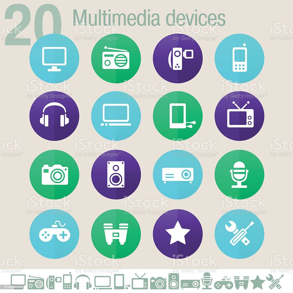 Multimedia devices icons | Flat circles vector art illustration
