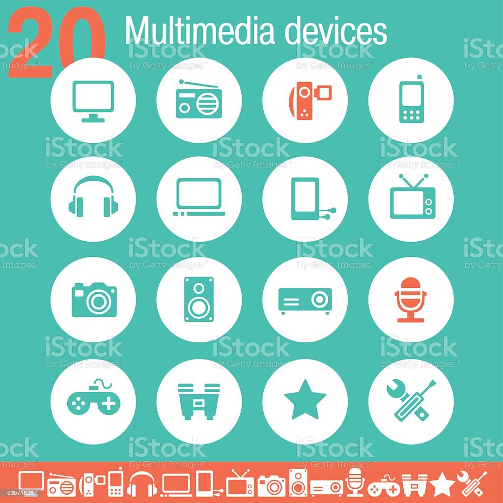 Multimedia devices icons | Flat emerald collection vector art illustration