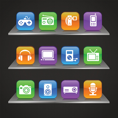 Multimedia devices icons on glass docks