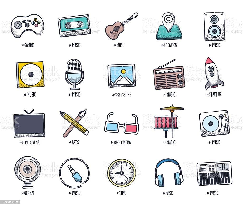 Multimedia Doodles vector art illustration