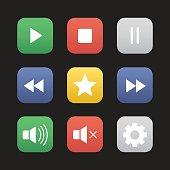 Multimedia flat design icons set