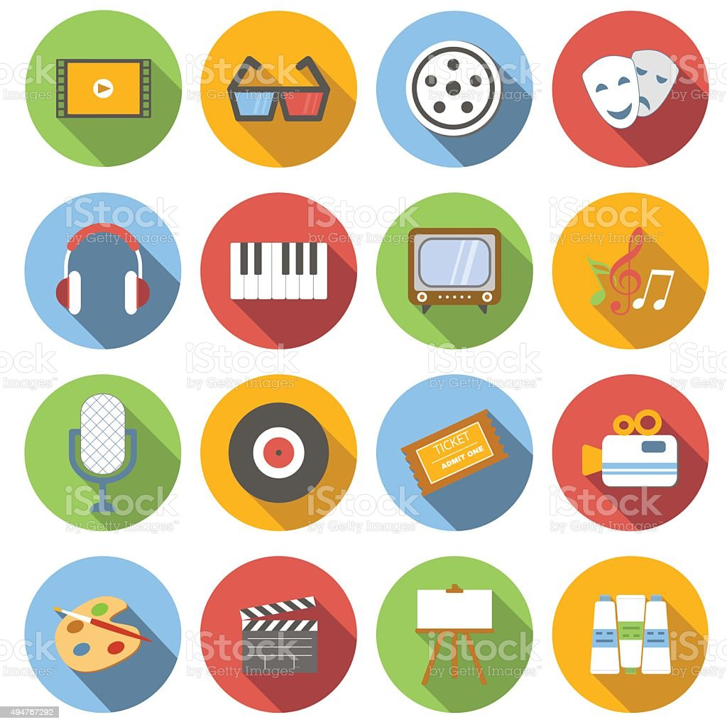 Multimedia flat icons vector art illustration