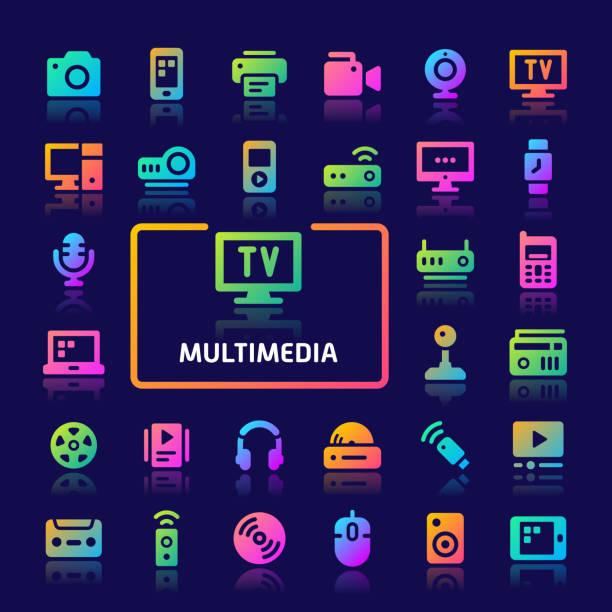 マルチメディアグラデーションベクトルアイコンセット。 - ゲーム ヘッドフォン点のイラスト素材/クリップアート素材/マンガ素材/アイコン素材