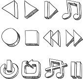 Multi-Media Icon in sketch style