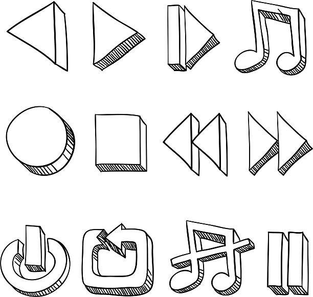 Multi-Media Icon in sketch style Multi-Media Icon in sketch style , with a little bit extruded effect. resting stock illustrations