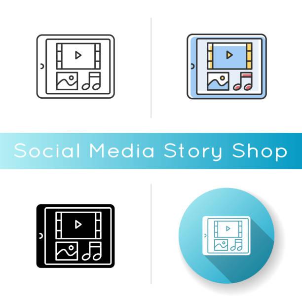multimedia-symbol - tablet mit displayinhalt stock-grafiken, -clipart, -cartoons und -symbole