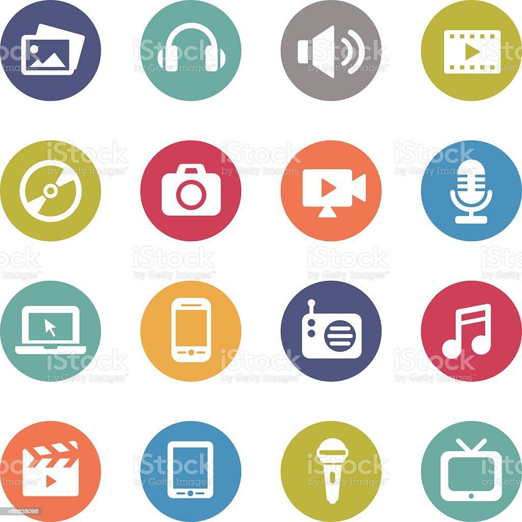 Multimedia Icons - Circle Series vector art illustration