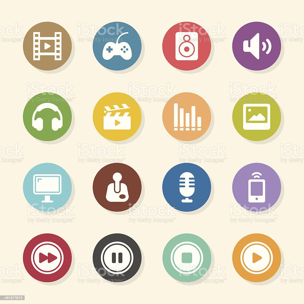 Multimedia Icons - Color Circle Series royalty-free multimedia icons color circle series stock vector art & more images of camera film