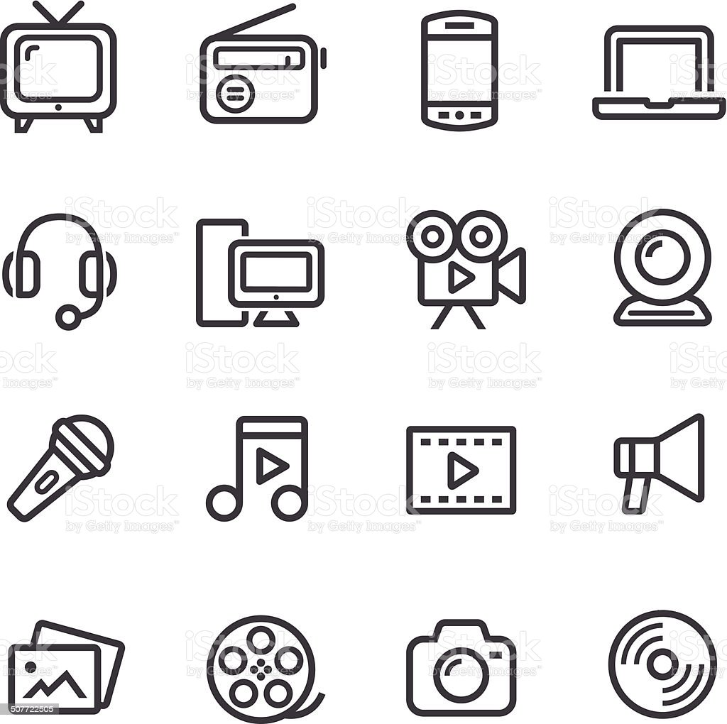 Multimedia Icons - Line Series vector art illustration