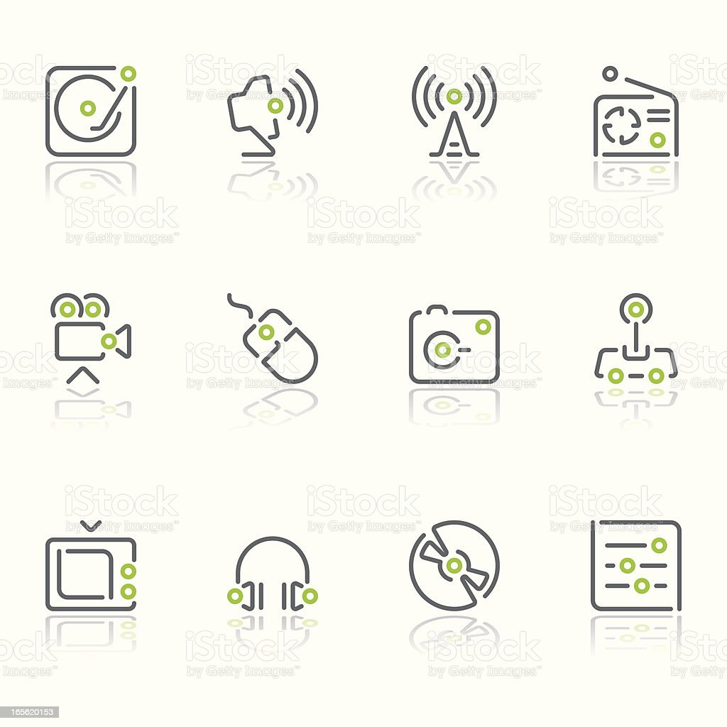 multimedia icons - linea series royalty-free stock vector art