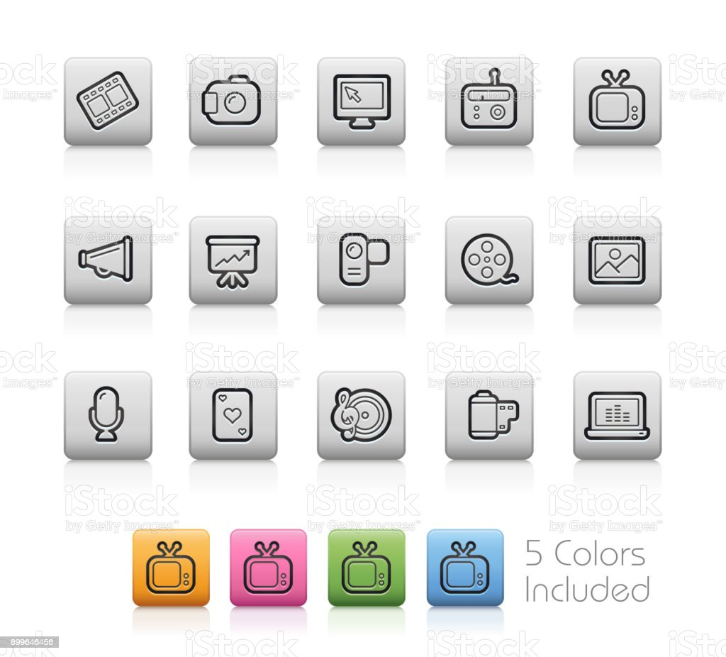 Multimedia Icons // Outline Button vector art illustration