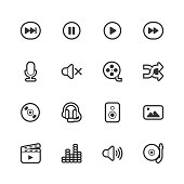 Multimedia icons - Regular Outline Vector EPS File.