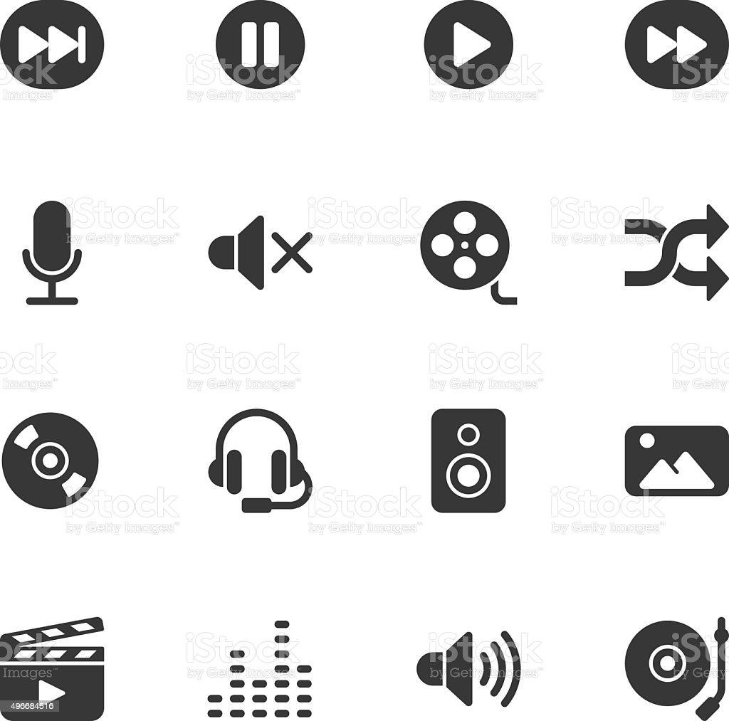 Multimedia icons - Regular vector art illustration