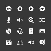 Multimedia icons - Regular - White Series Vector EPS File.