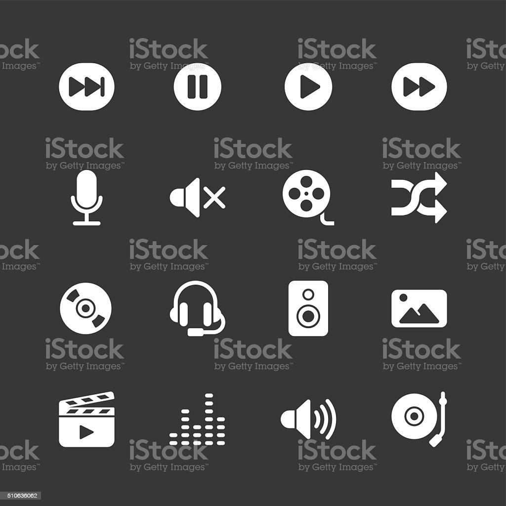 Multimedia icons - Regular - White Series vector art illustration
