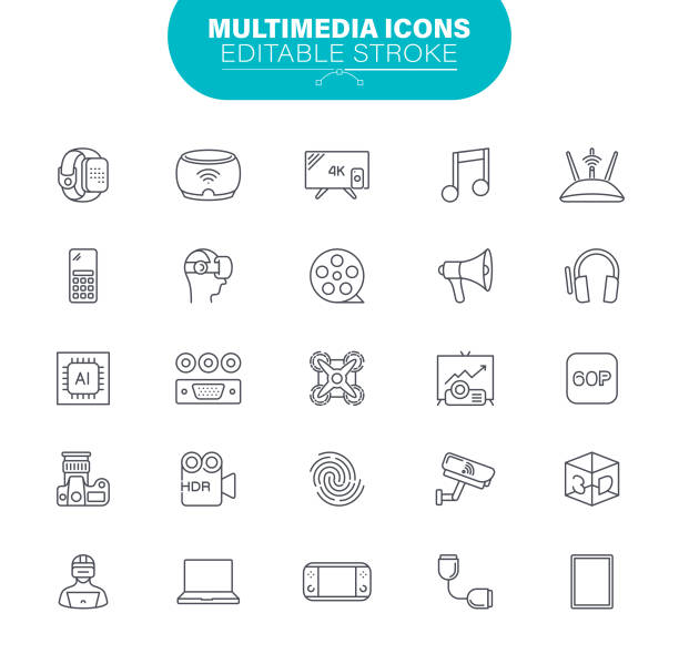 Multimedia Icons. Set contains such icon as Digital Tablet; Television Set; Technology; Portable Information Device; Mobile Phone; Computer; Smart Phone; Illustration vector art illustration