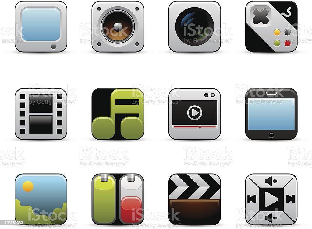 Multimedia Icons Set royalty-free stock vector art