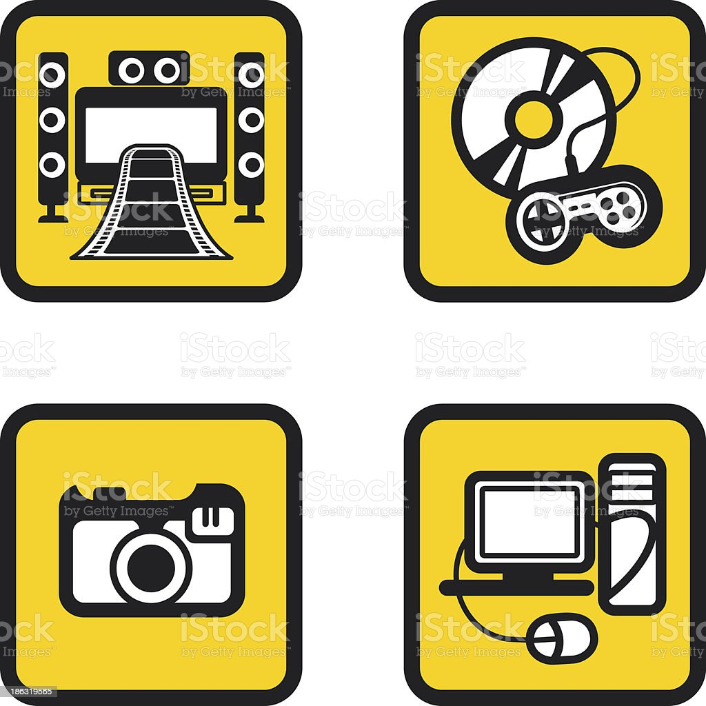 Multimedia icons set royalty-free stock vector art