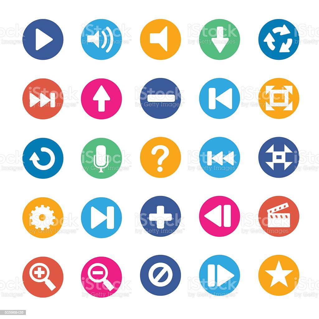 Multimedia icons set vector art illustration