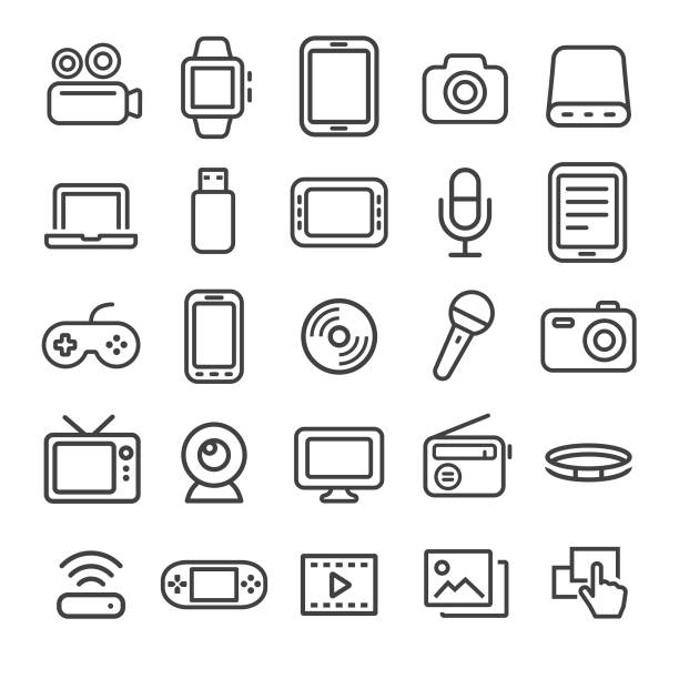 multimedia icons - smart line series - aparat fotograficzny stock illustrations