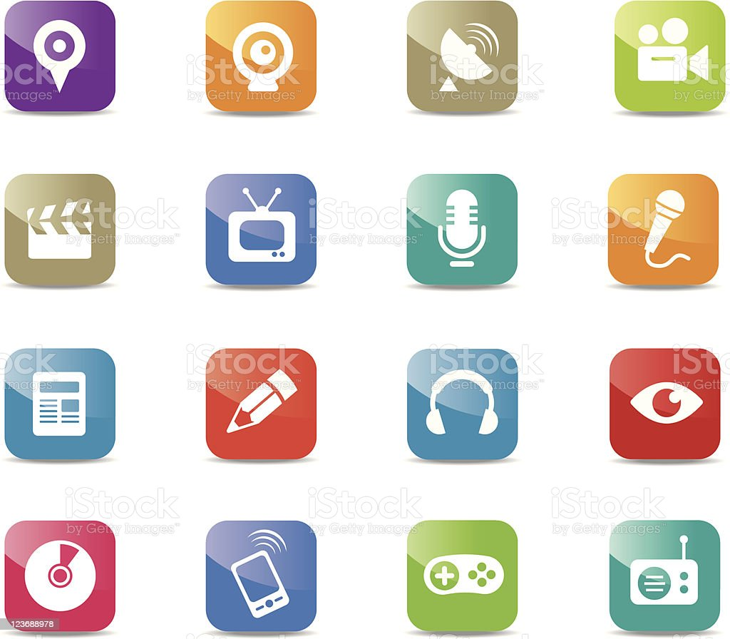 Multimedia icons - Square royalty-free stock vector art