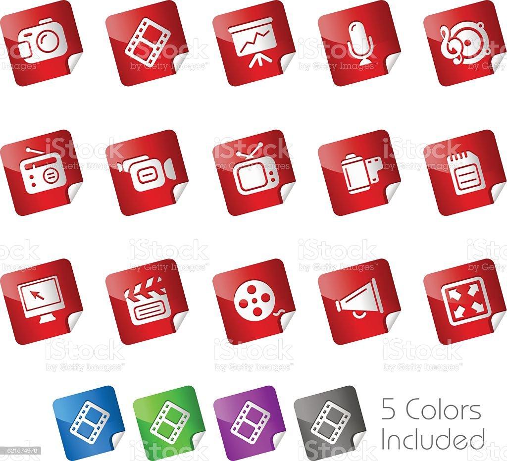 Multimedia Icons // Stickers Series multimedia icons stickers series – cliparts vectoriels et plus d'images de affaires libre de droits