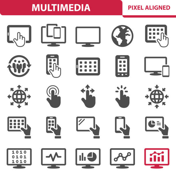 multimedya simgeler - hand holding phone stock illustrations