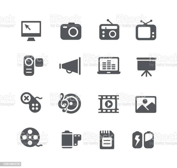 Multimedia Icons Vecteurs libres de droits et plus d'images vectorielles de Affaires