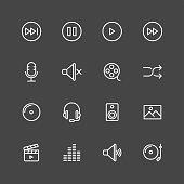 Multimedia icons - White Series