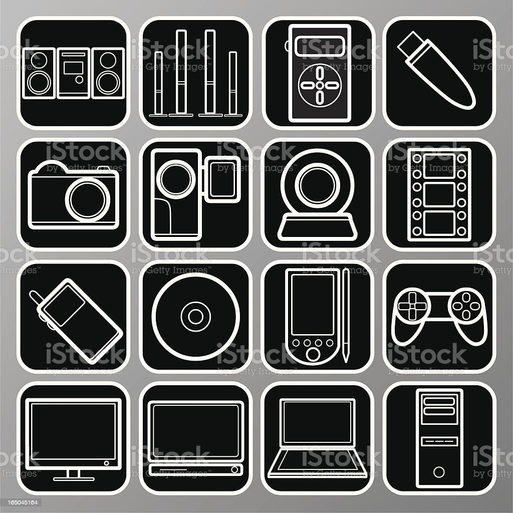 Multimedia Icons: White royalty-free multimedia icons white stock vector art & more images of arranging