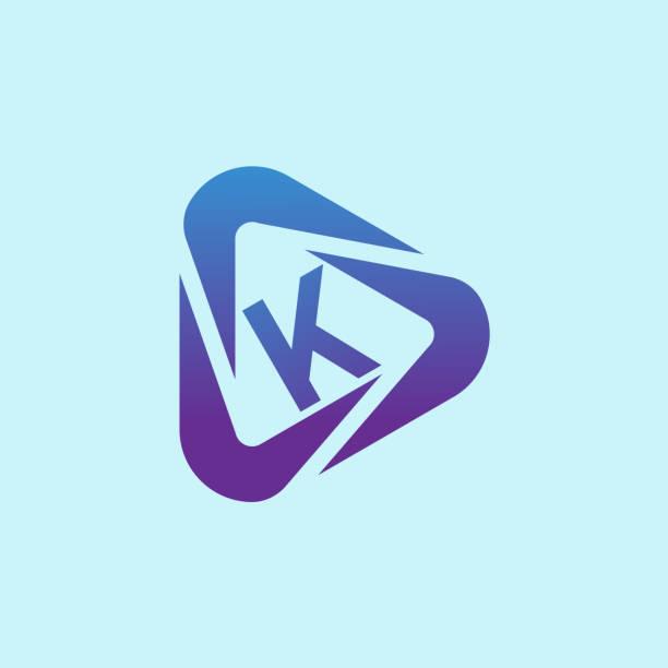 multimedia initial Letter K icon design icon design for multimedia k logo stock illustrations