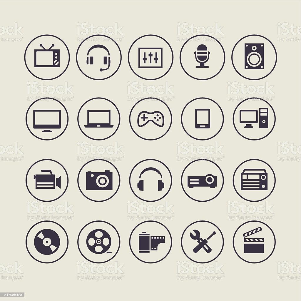 Multimedia Light Icons vector art illustration