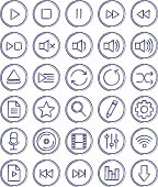 Multimedia linear hand drawn ink icons set