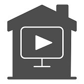 Multimedia player with house solid icon, smart home concept, home and video vector sign on white background, House and media play button in glyph style for mobile and web. Vector graphics