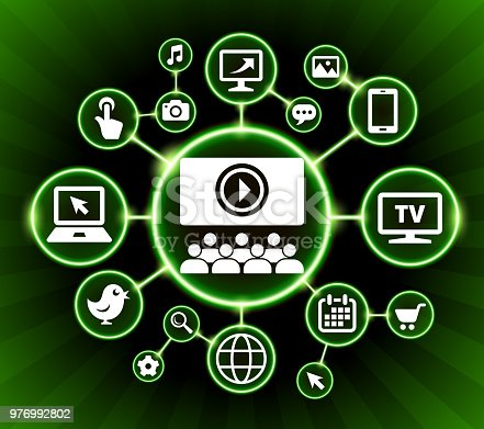 Multimedia Presentation Internet Communication Technology Dark Buttons Background. The main icon depicted in this 100% royalty free vector illustration is placed inside a black circle with a glowing bright green outline. It is surrounded by a group of smaller circles with technology, internet and media icons in each of the circles. The background is dark and has a green starburst glow effect. The icons are white in color.