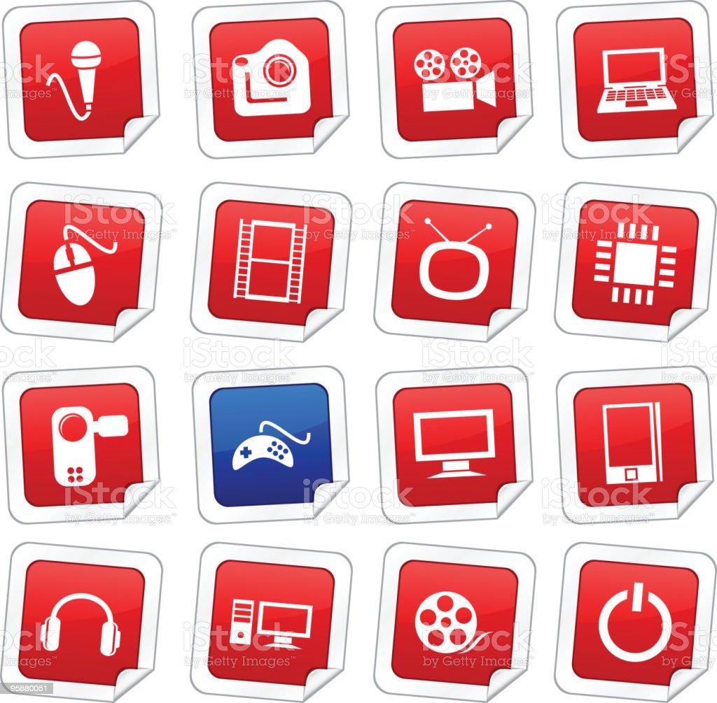 Multimedia stickers. royalty-free stock vector art