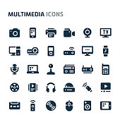Simple bold vector icons related to multimedia. Symbols such as audio-video, telecommunication and entertainment device are included in this set. Editable vector, still looks perfect in small size.