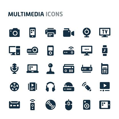 Multimedia Vector Icon Set. Fillio Black Icon Series.