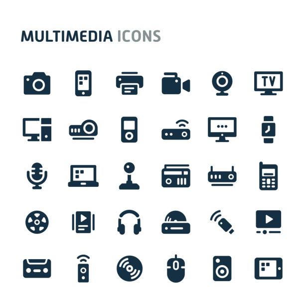 multimediales vector icon set. fillio black icon series. - fotografische themen stock-grafiken, -clipart, -cartoons und -symbole