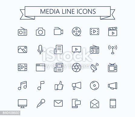 Multimedia vector icons set. Thin line outline 24x24 Grid. Pixel Perfect.Editable stroke. eps 10